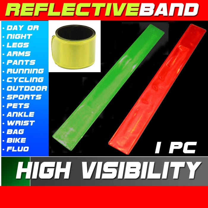 1 High Visibility Reflective Wrist Band Safety Arm Night Biking Traffic Running