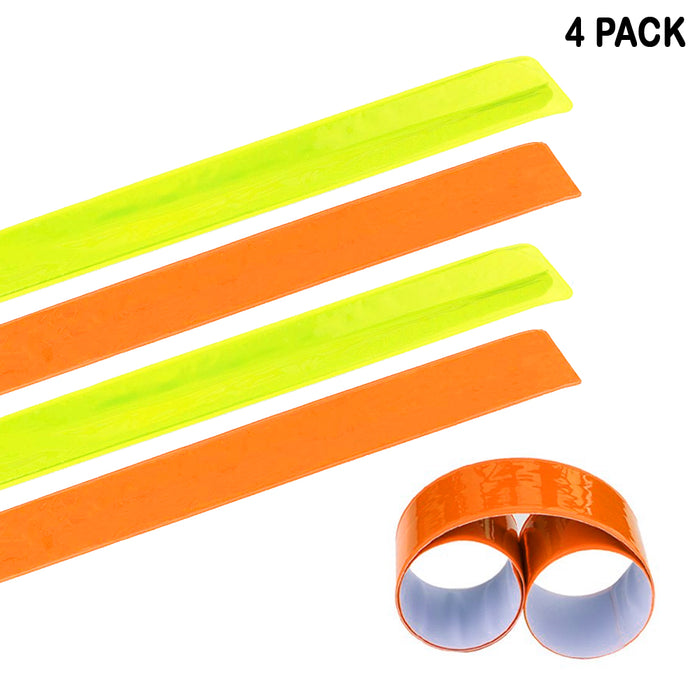 4 Pack Reflective Bands Running Gear Adjustable Arm Wrist Ankle Leg Safety Night
