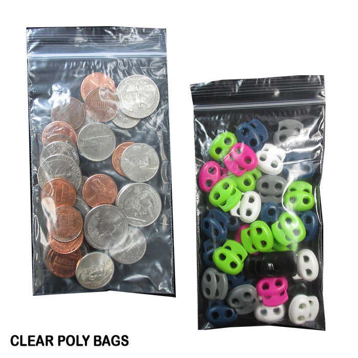 500 Pack 2 Mil Clear Plastic Reclosable Zipper Poly Bags 3X5 Lock Seal Storage