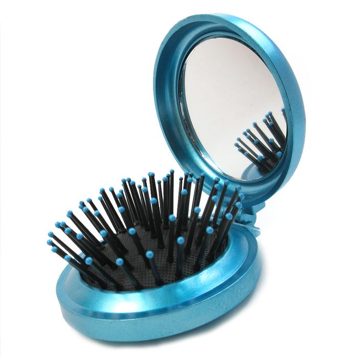 Lot of 6 Folding Hair Brush Mirror Compact Pocket Size Travel Car Purse Bag Gift