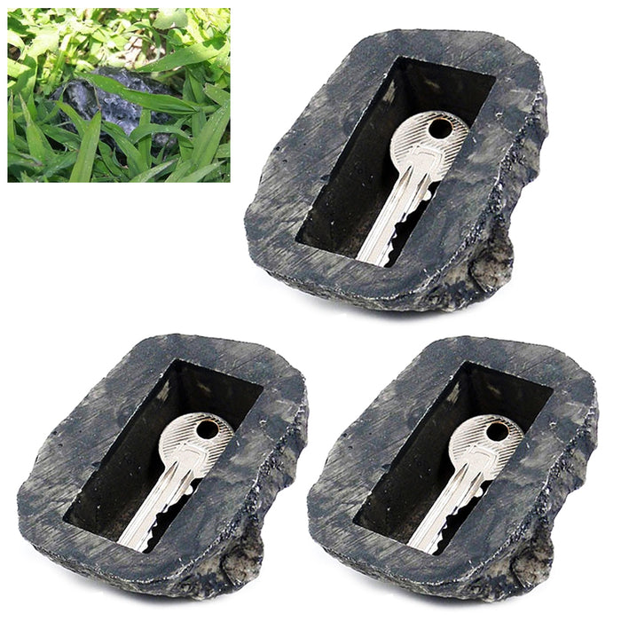 3X Hide A Key Holder Outdoor Rock Set Emergency Storage Spare Hider Safe Novelty