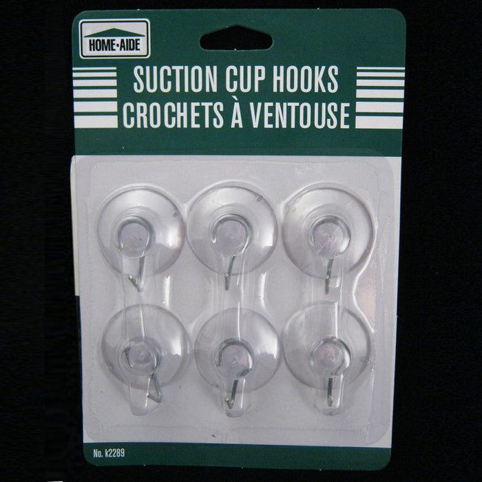 "6 Suction Cups Hooks Hanger Plastic Clear Wall Bathroom Kitchen Crafts 1 1/4"" D"