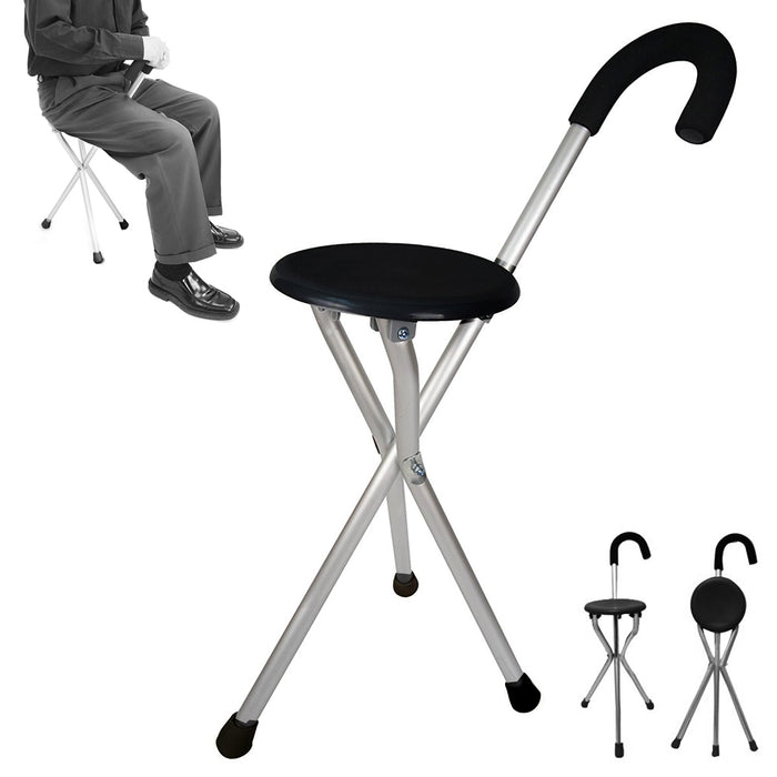 Folding Cane Medical Travel Seat Walking Stick Portable Camping Hiking Chair New