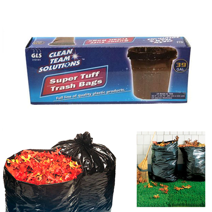 10PC Lawn Leaf Trash Bags 39 Gallon Capacity Strong Grass Garden Multi Use Black