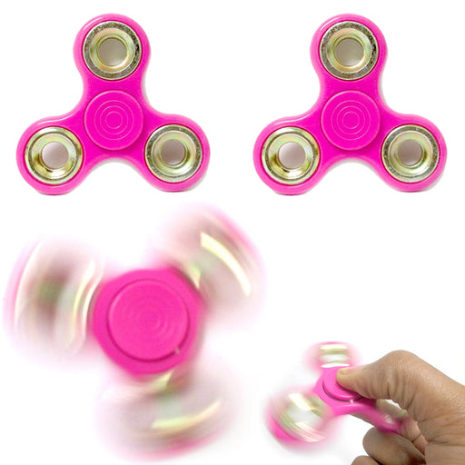 2 Tri Fidget Hand Spinner Finger Toy EDC Focus Desk ADHD Autism Kids Adults Pink