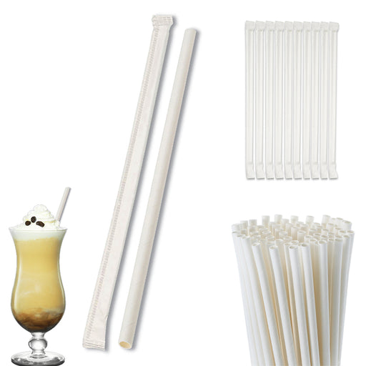 100 Pack White Paper Drinking Straws Wrapped Eco-Friendly Party Supplies Wedding