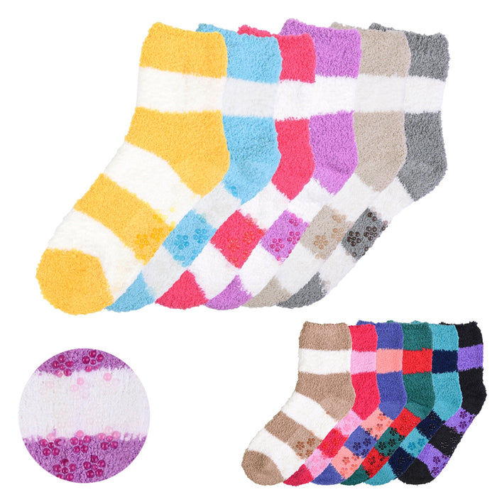New 6 Pairs Plush Soft Socks Women Girls NON SKID Stripe 9-11 Winter Warm Fuzzy