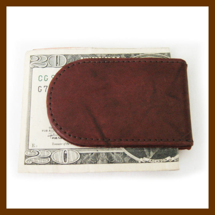 Genuine Leather Magnetic Money Clip Brown Thin Slim Holder Money Card Id Men New