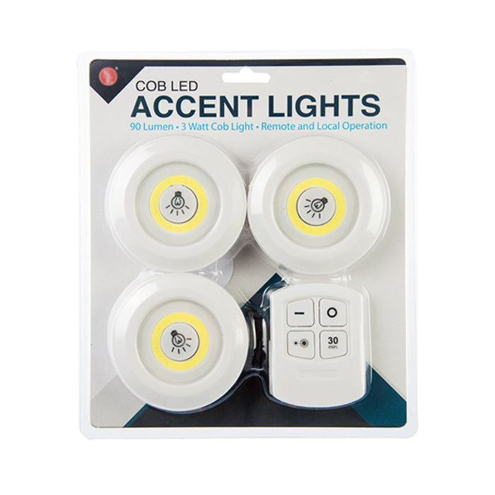 Set 3 LED Lights W/ Remote Control Accent Lighting Spot Lamp Power Outage Storm