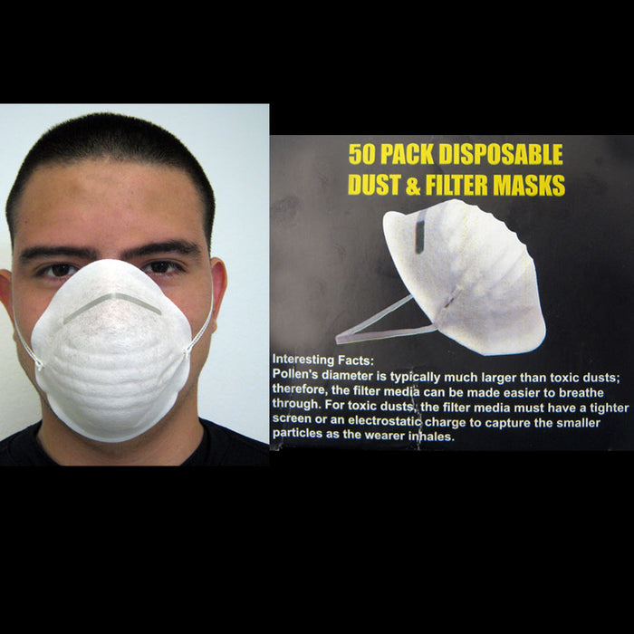 50 Dust Face Mask Filter Mouth Disposable Medical Dental Safety Respirator NEW