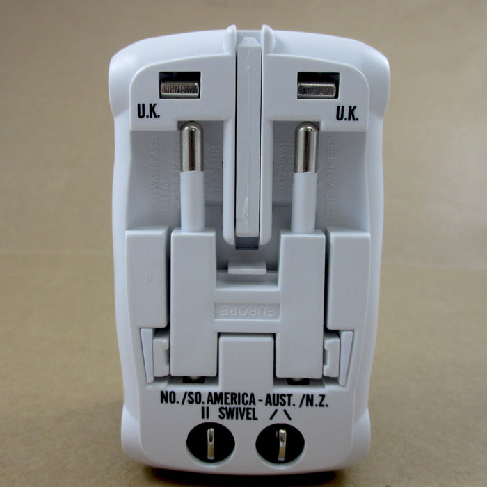 Universal All In One Adapter Plug Surge Protector International Travel Outlet !