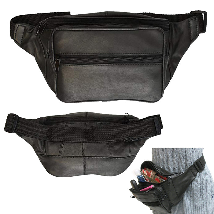 Black Leather Fanny Pack Waist Bag Adjustable Travel Pouch Mens Womens Hip Purse