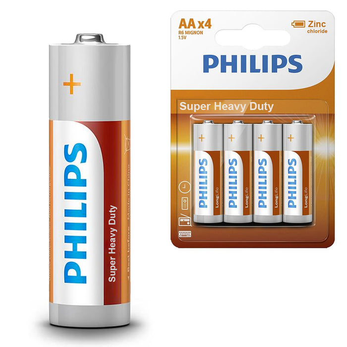 48 AA Philips Zinc Chloride Batteries R6 1.5V Super Heavy Duty Use Longlife New
