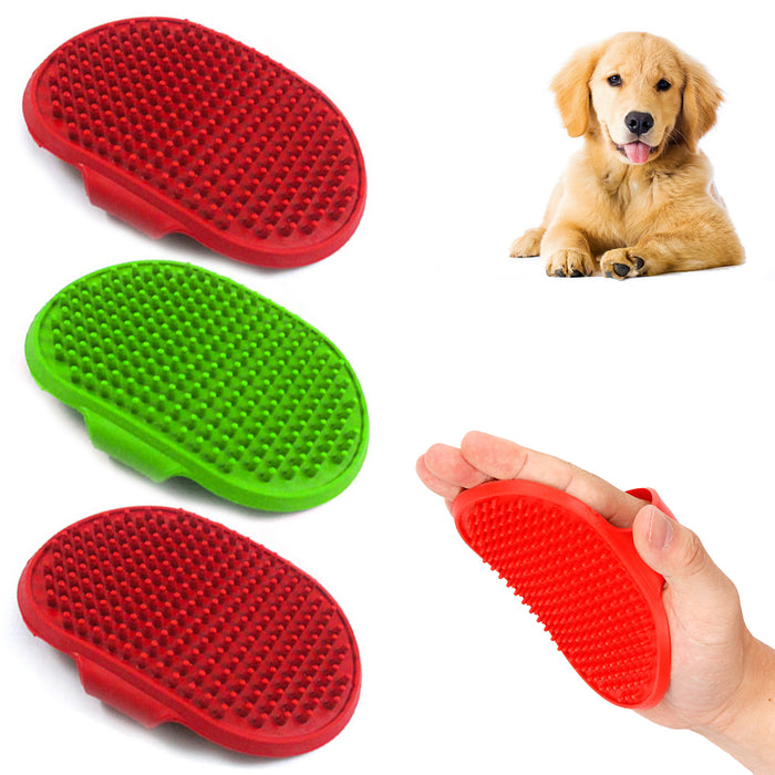 3X Pet Grooming Brush Palm Adjustable Dog Cat Shower Soft Rubber Comb Hair Bath