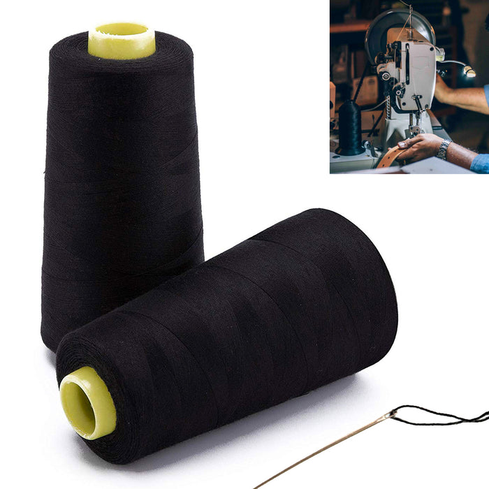 2X Spools Black Sewing Thread 3000 Yard Ea Polyester Cones Fabric Machine Crafts
