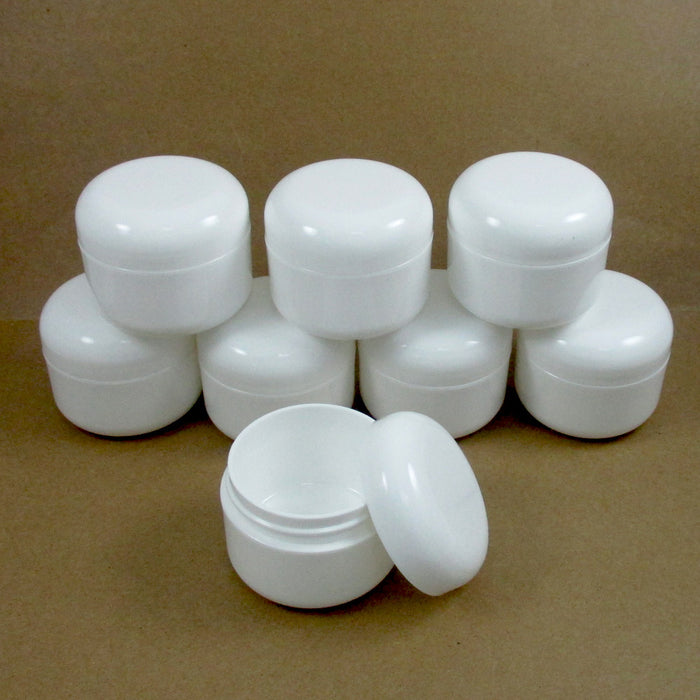 8 White 1.7 Oz Plastic Cosmetic Double Wall Cream Empty Dome Jars Container Cap