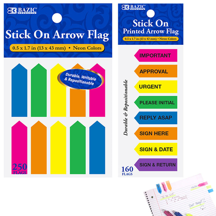 410 Pcs Stick On Flags Arrow Page Marker Index Tab Sticky Bookmark Neon Colors