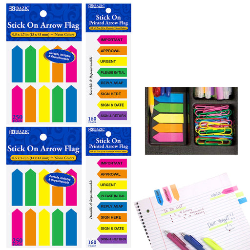 820 Sheets Neon Sticky Notes Flags Arrow Memo Sign Here Tabs Classroom Supplies