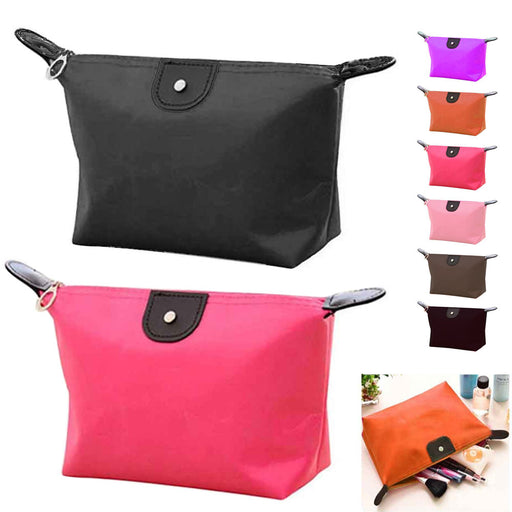 2 Nylon Cosmetic Bag Makeup Zippered Case Travel Toiletry Beauty Pouch Organizer