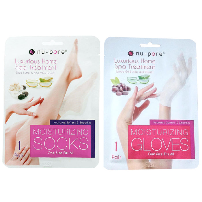 2 Pack Set Moisturizing Socks Hand Skin Gloves Beauty Spa Nail Therapy Treatment