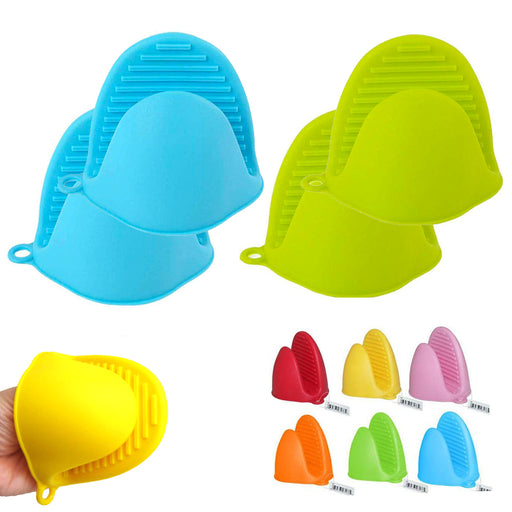 4PCS Heat Resistant Silicone Pinch Mitts Oven Mitt Pot Holder Glove Kitchen Grip