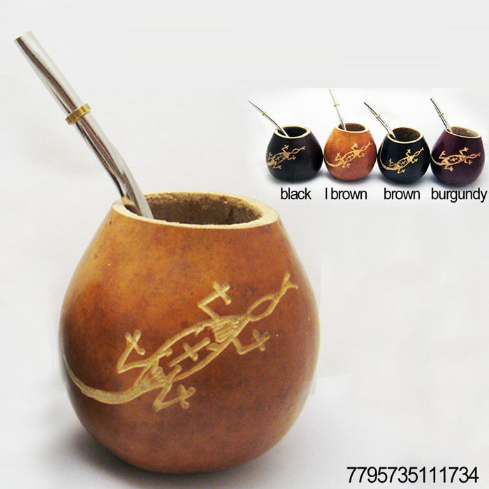 ARGENTINA MATE GOURD YERBA TEA CUP WITH STRAW BOMBILLA HANDMADE DETOX DRINK 1734