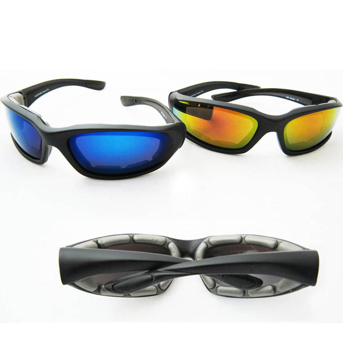 2 Pair Chopper Padded Wind Resistant Sunglasses Motorcycle Sports Riding Glasses