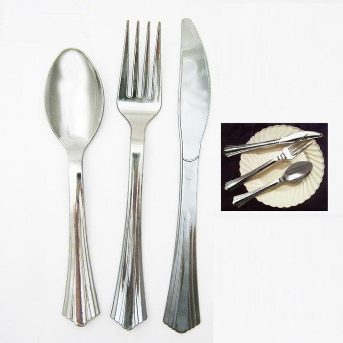 18 Plastic Cutlery Silver Forks Knives Spoons Party Tableware Disposable Elegant