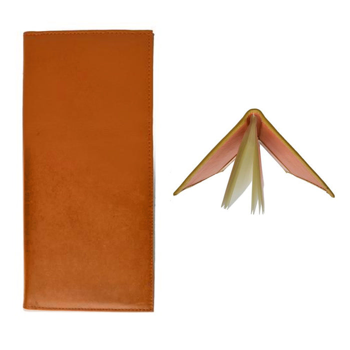 Genuine Leather Business Card Holder Book Organizer Case 160 Tan Orange Office