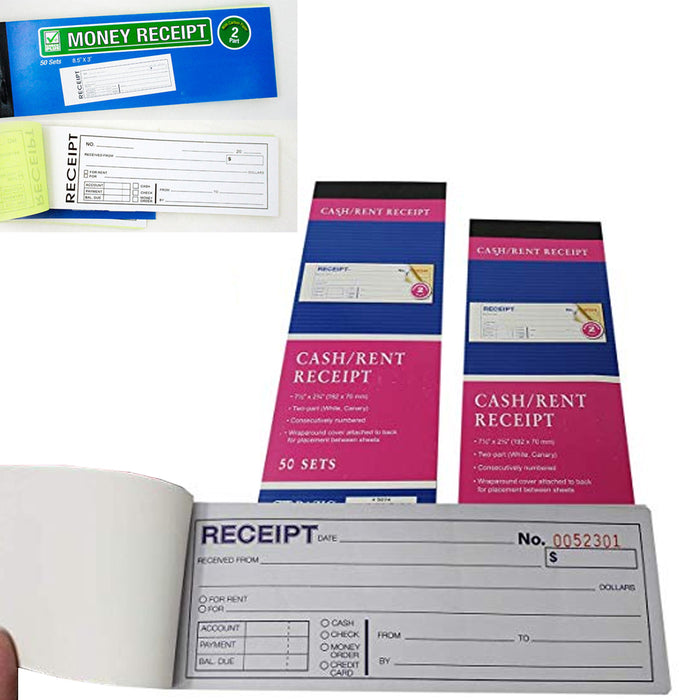 10 Cash Money Rent Receipt Record Book 2 Part 50 Sets Duplicate Copy Carbon New