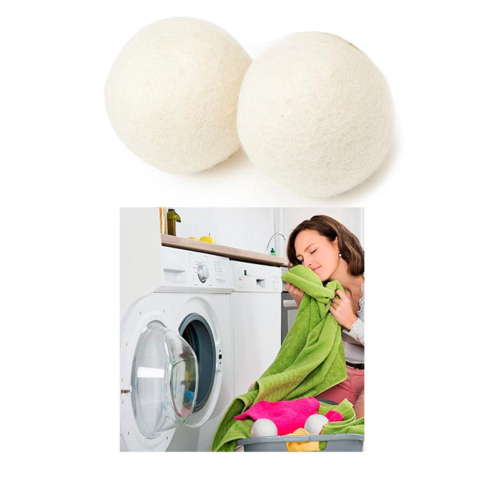 2 Pc Wool Dryer Balls Laundry Natural Hypoallergenic Reusable Fabric Softener