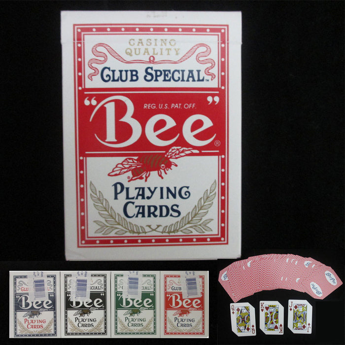 1 Pk Deck Bee Casino USED Standard Poker Playing Cards Pro Red Deck Sealed Box