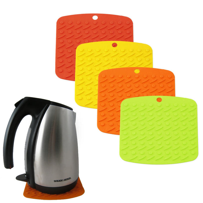 2 Silicone Pot Holder Oven Mitt Potholder Trivet Heat Flame Resistant 3 In1 !