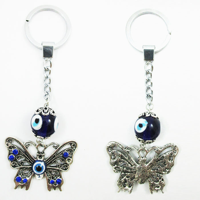 2 Pc Lucky Eye Butterfly Keychains Key Ring Bead Good Blessing Key Chain Amulet