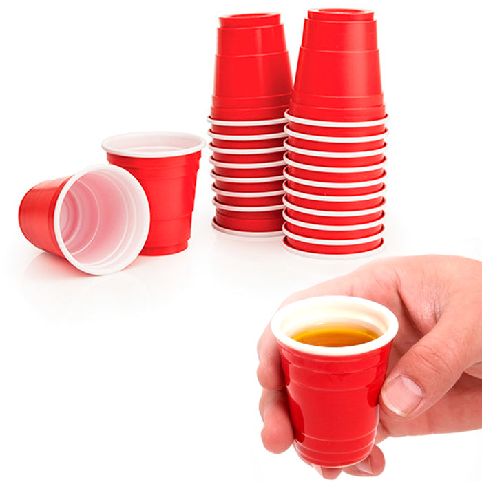 120Ct Mini Red Cups 2oz Plastic Disposable Shot Glasses Wine Bar Jello Shooter