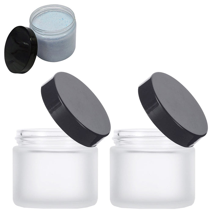 2 Clear Plastic Empty Cosmetic Sample Art Craft Storage Containers Jars Pots 2oz