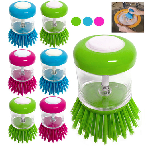6 Scrubber Soap Dispense Palm Wash Brush Cleaning Pan Pot Dish Bowl Kitchen Tool