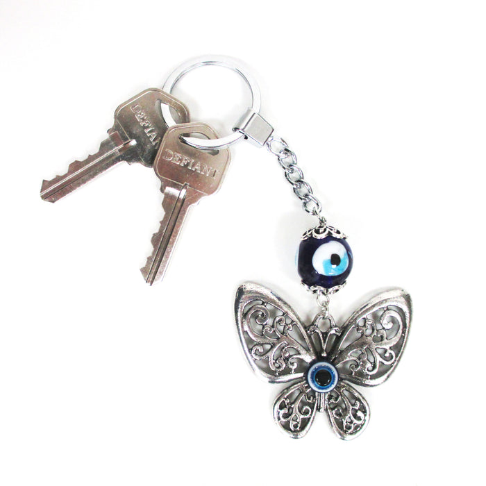 1 Evil Eye Butterly Keychain Hamsa Blue Nazar Charm Amulet Lucky Protection Gift