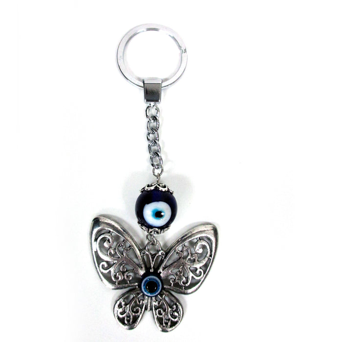 2 Evil Eye Key Chain Butterfly Nazar Mati Protection Religious Good Luck Keyring