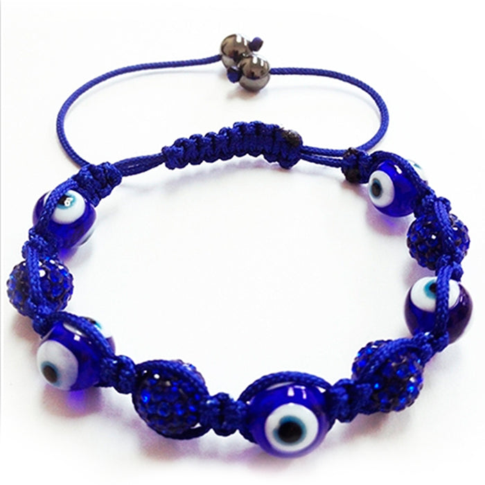 2Pc Evil Eye Crystal Rhinestones Disco Balls Bead Adjustable Friendship Bracelet