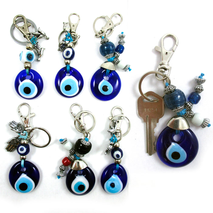 1 Blue Lucky Evil Eye Keychain Glass Key Ring Turkish Hamsa Luck Charm Kabbala