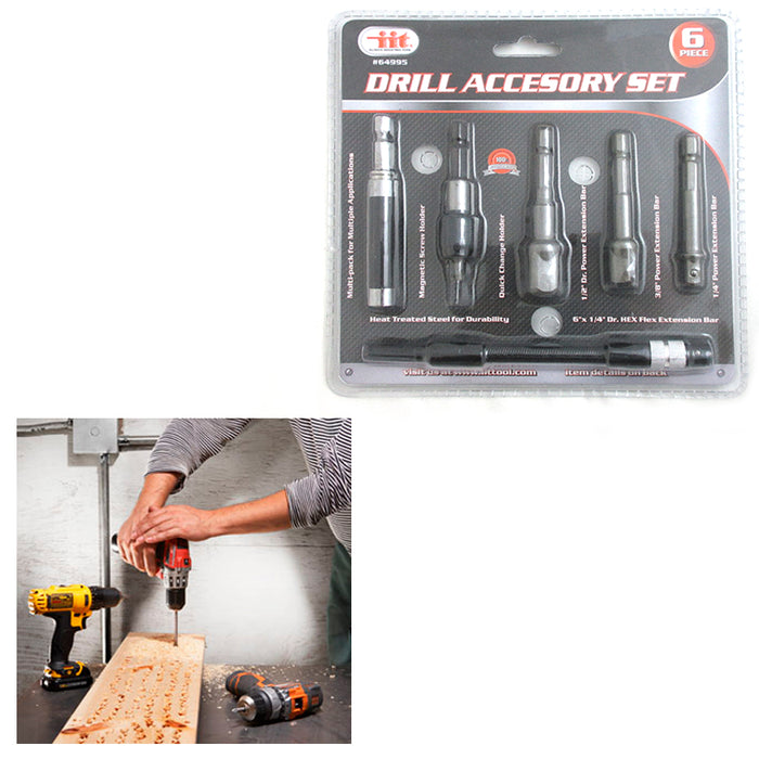 6 Drill Accessory Set Adapter Power Hex Extension Magnetic Screw Tool Kit