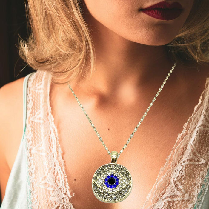 1 Evil Eye Lucky Pendant Charm Necklace Chain Mati Nazar Fatima Protection Gold