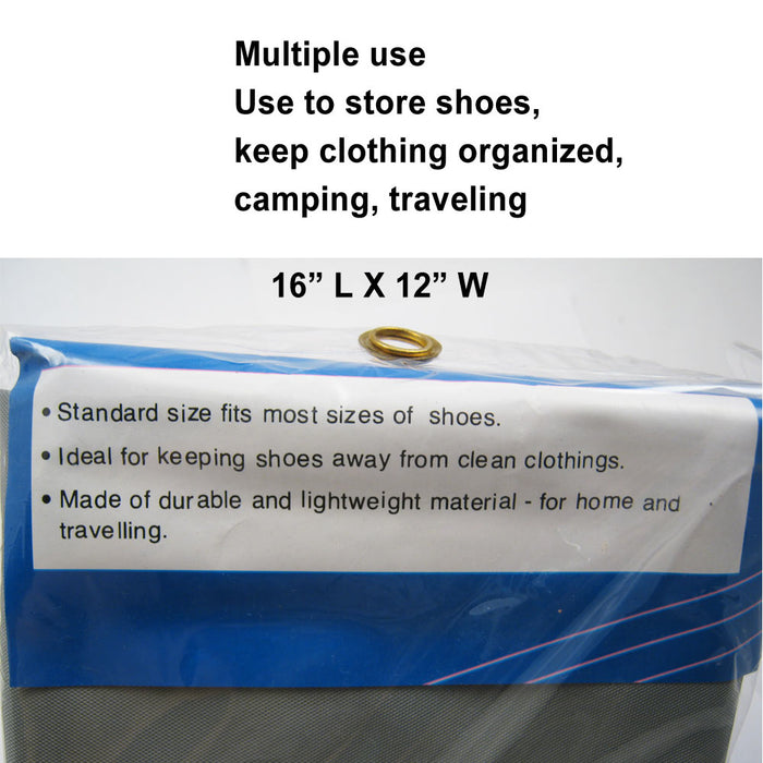 3Pc Waterproof Laundry Bag Heavy Duty Shoe Bags Sized Drawstring Nylon College