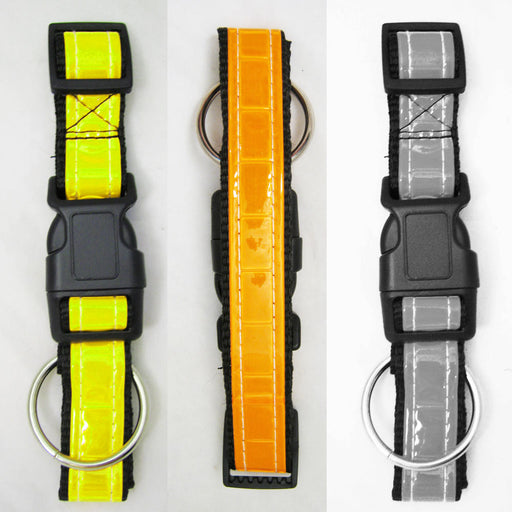 1 Reflective Dog Collar Nylon Adjustable Puppy Mesh Night Reflector Size 18-27