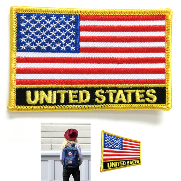 4 USA US United States Flag Embroidered Iron On Patch American