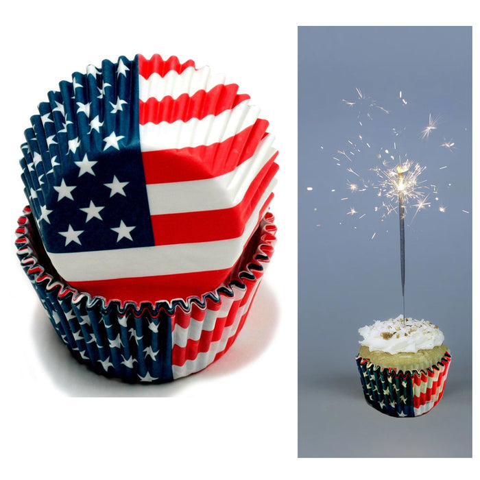 100 X American Flag Cupcake Liners Wrapper Cake Muffin Baking Cups Party Dessert