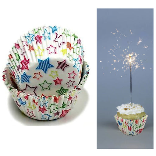 200 X Star Design Cupcake Liners Wrapper Cake Muffin Baking Cups Party Dessert