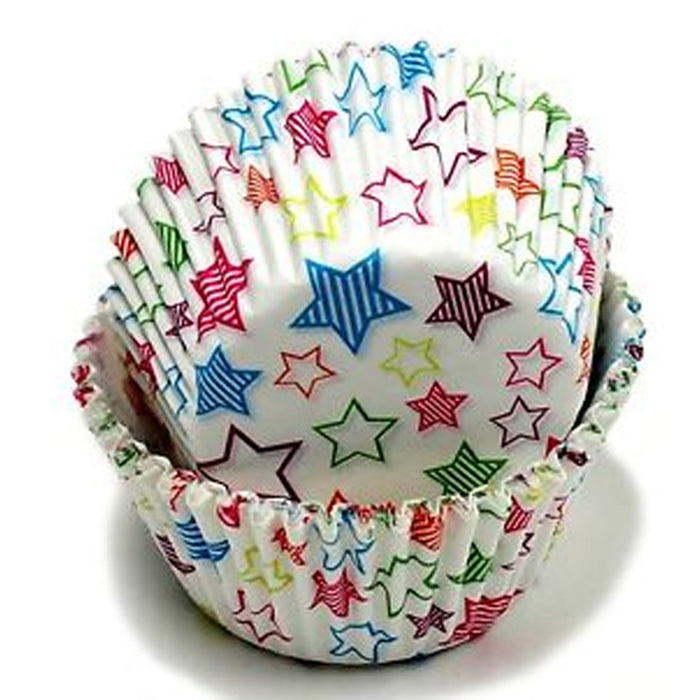 100 X Star Design Cupcake Liners Wrapper Cake Muffin Baking Cups Party Dessert