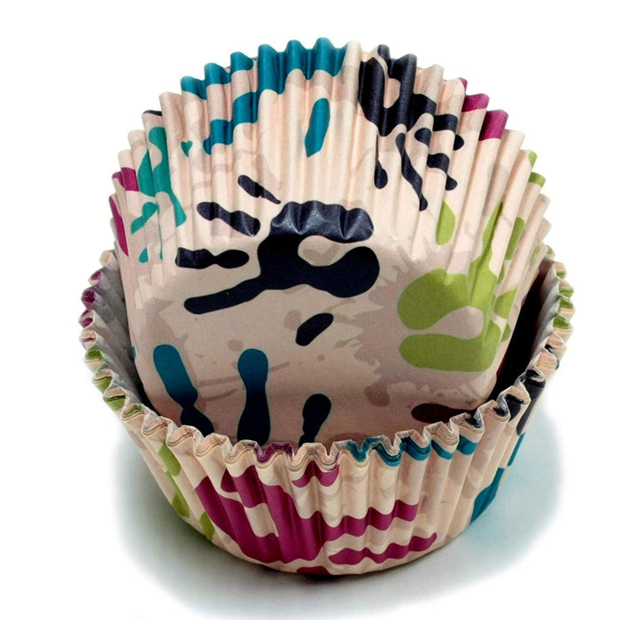 100 X Painted Hands Design Cupcake Liners Cake Muffin Baking Cups Party Dessert